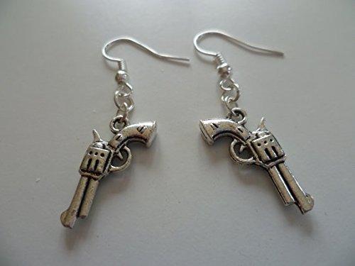 Pendientes de pistola, aretes, arma, revólver, cazador, pistola de plata, joyería de arma, joyería de armas