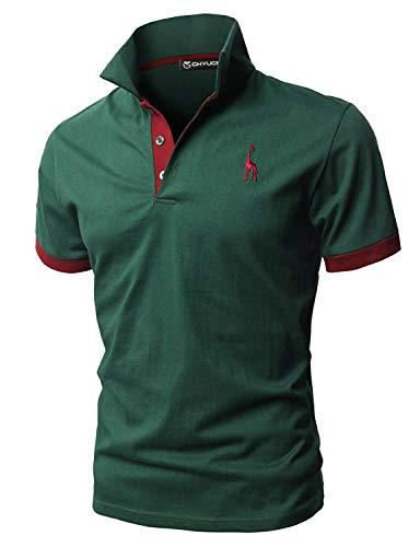 GHYUGR Polos Manga Corta Hombre Bordado de Ciervo Camisas Slim Fit Camiseta Deporte Golf Poloshirt Verano Primavera T-Shirt Oficina,Verde,L