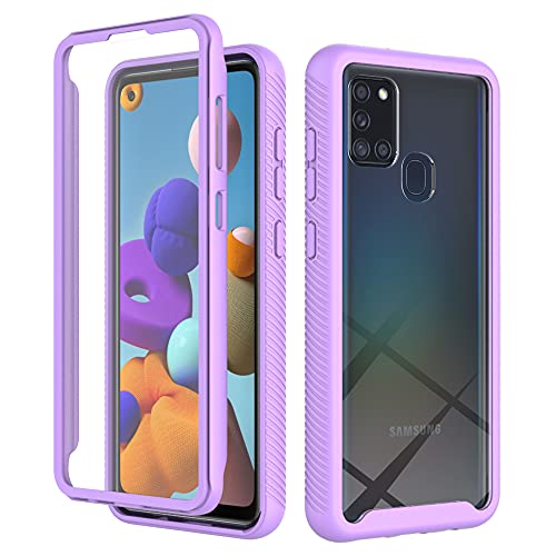 Kompatibel mit Samsung Galaxy A21S Hülle Schutzhülle 360 Grad Stoßfest Transparent TPU Bumper Case Rugged Silikon Schutzhülle Cover mit Displayschutz Handyhülle für Samsung Galaxy A21S 10G -a