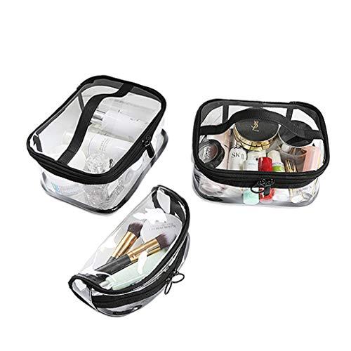 Estuche Transparente de Maquillaje Conjunto de 3 Bolsa Práctica para Guardar Utensilios Cosméticos Make-up Pounches PVC Grueso Suave (Conjunto de 3 Transparente)