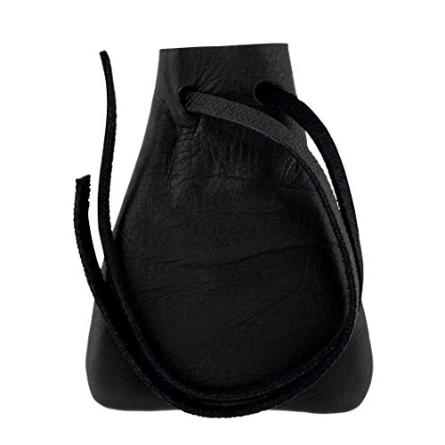 Leather Drawstring Pouch, Coin Bag, Medicine Tobacco Pouch Medieval Reenactment Size 3.75'' x 2.75'' - Made in U.S.A. by Nabob Leather (Black, Wide)
