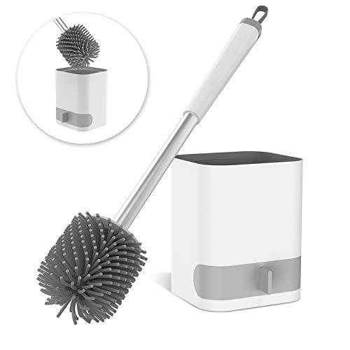 MeeQee WC-Bürste Toilettenbürste Set Silikon und Halter Ohne Bohren mit Halter Wandmontage Stehen Langer Stiel Zerlegbarer Wasserschublade