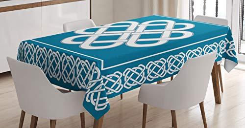 Ambesonne Irish Tablecloth, Celtic Love Knot Fortune Symbol Framework Border Design, Rectangular Table Cover for Dining Room Kitchen Decor, 52' X 70', Dark Aqua White