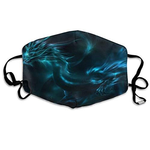 Blue Dragon Black Mundschutz, Druck Mundschutz zum Schutz vor Verschmutzung, 18x11cm