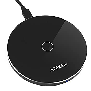 Apexan Fast Wireless Charger Compatible for Apple iPhone 11 Pro 11 Pro Max X XS XS Max iPhone XR 8/8 Plus and All Qi Cell Phones| Qi Fast 10W Wireless Charging Pad  Space Grey