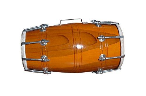 """Satnam Handmade 14"""" Dholak Drum (Natural) - Made In India"""