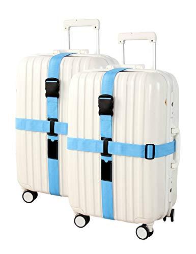besbomig Bagages Créatifs Sangles Personnalisées 2 Pack - Trolley Case Tie Thicken Bundle avec Croix Bagages de Ceinture d'emballage Sangles de Sécurité Renforcées