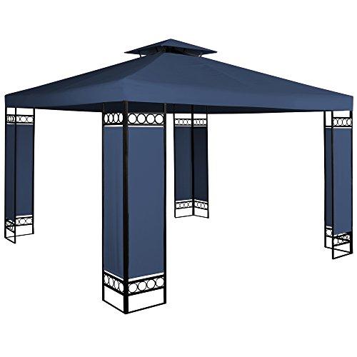 Deuba Gazebo da giardino Lorca 3x3 doppio tetto poliestere Protezione UV50+ 9m² tendone padiglione esterno patio feste matrimonio blu
