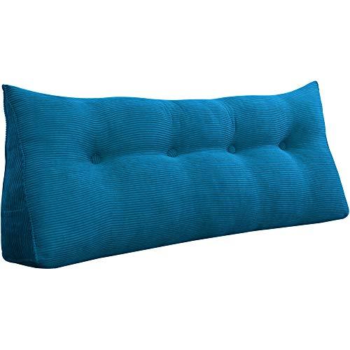 VERCART Rückenlehne Nackenrolle Keilkissen Rückenkissen Bett Sofa Dekorative Groß Kopfteil Lesekissen Cord Marineblau 120cm