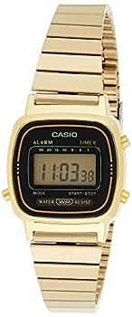 Casio Women s Vintage LA670WGA-1DF Daily Alarm Digital Gold-tone Watch