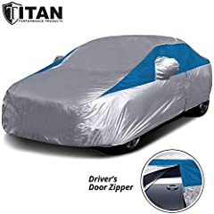 Car Cover Compatible with Honda Civic, Sentra, Ford Focus, Chevy Cruze, and More Waterproof Car Cover with Reflective Sunscreen for UV Protection for Outdoor- Indoor Car Cover, Too Driver Door Zipper for Easy Access and Click Close Straps to Keep Cov...
