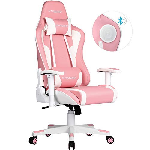 Gtracing Gaming Chair with Bluetooth Speakers Music Video Game Chair Audio Ergonomic Design Heavy Duty Office Computer Desk Chair Gt890M,Pink