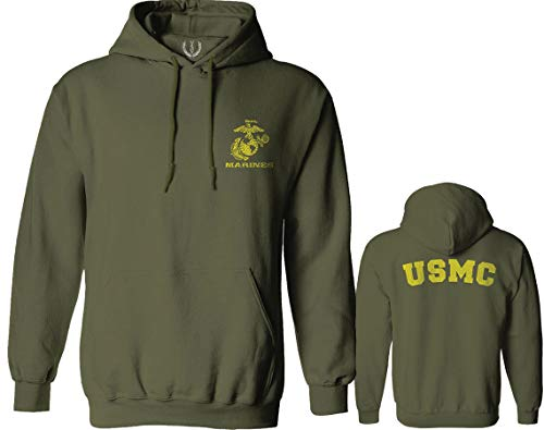 Marines Marine Corps USMC Logo Seal United States America USA American Hoodie (Olive, 2X-Large)