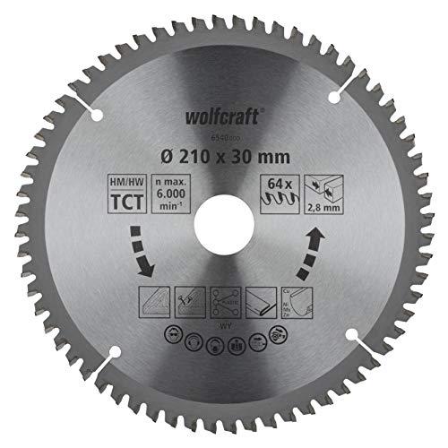 wolfcraft 6540000 Kapp- und Gehrungssägeblatt ø 210 mm - feine, saubere Schnitte