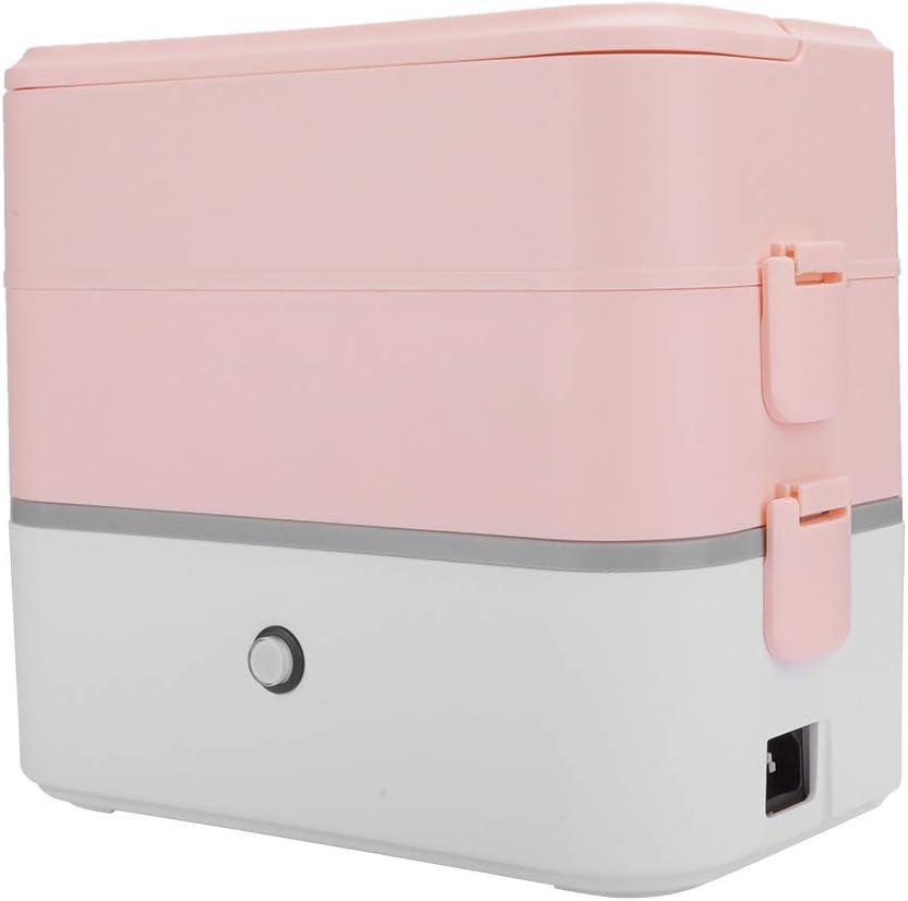 Omabeta Fiambrera eléctrica portátil con calefacción, Calentador de Alimentos, máquina de cocción al Vapor, Fiambrera eléctrica para Coche, Rosa(EU Plug 220V-Doble Capa)