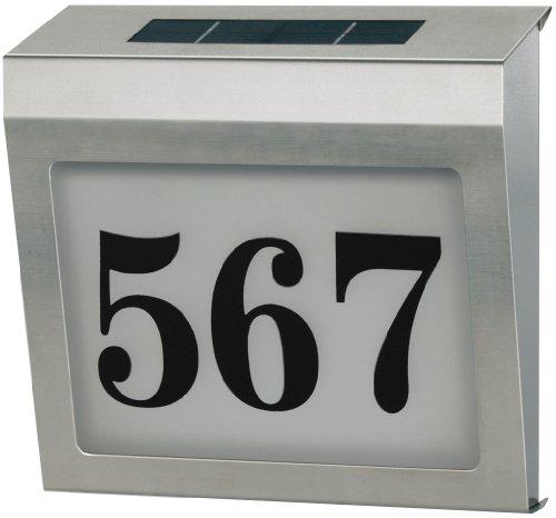 Brennenstuhl Hausnummer Solar Power / Hausnummerleuchte Edelstahl mit Solar-Panel (4 stromsparende LEDs, Solar Akku, IP44 geprüft) Farbe: silber