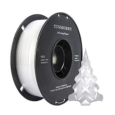 PETG Filament 1.75 mm 1kg, TINMORRY 3D Printer Filament 1 Spool, Transparent