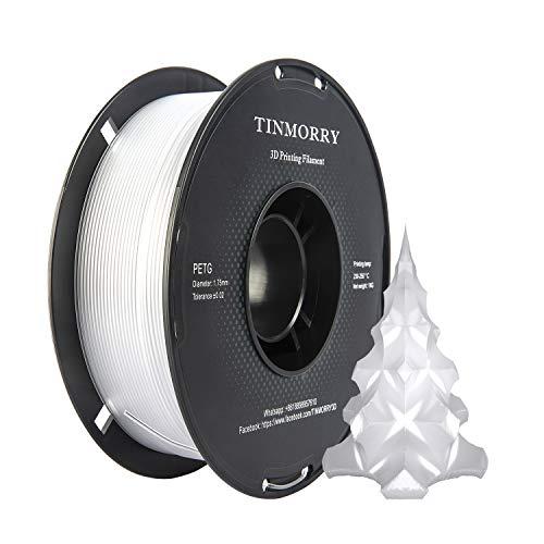 PETG Filament 1,75 Transparent, TINMORRY Filament PETG 1,75mm für FDM 3D Drucker, 3D Druckmaterialien 1 kg 1 Spule