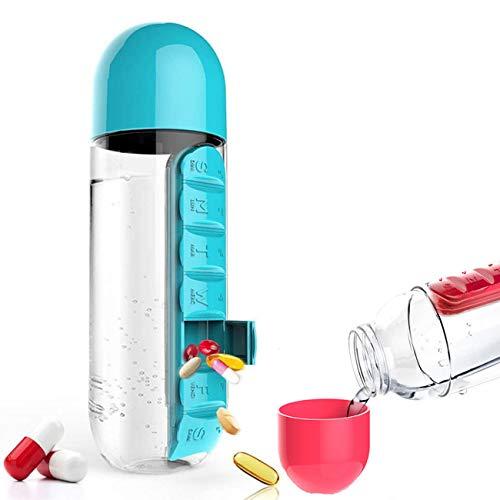 Botella De PÍLdora De Viaje, 2 En 1 Botella De Agua Portátil Para Exteriores de 7 Días Con Organizador De Caja De Píldoras, Para Gimnasio, Escuela, Oficina, Viajes (azul)