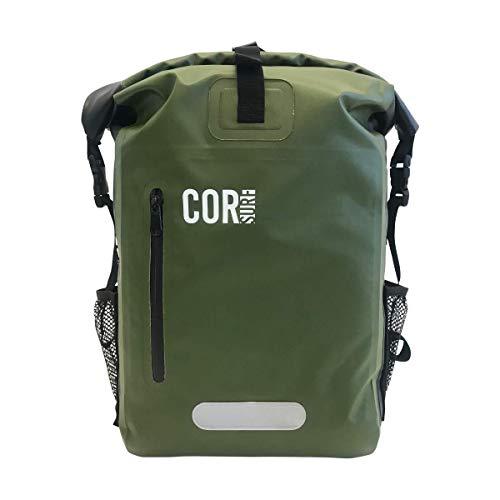 COR Zaino impermeabile da 25L con tasca imbottita per portatile, capacita' 25 litri, (Grigio e Verde) (one size, Green)