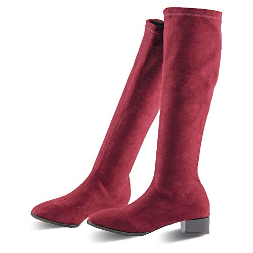 PARAVANO Overknees Stiefel Damen, Kniehohe Stretch Stiefel,Wildleder Damen Schwarz mit Absatz Winterschuhe (Rot Slim,38 Herstellergröße 240)