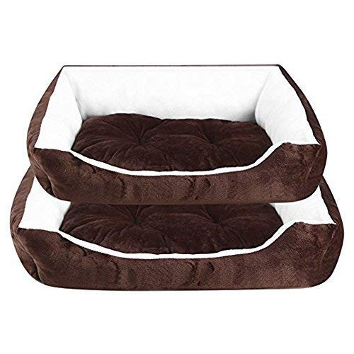 Soft Washable Dog Pet Warm Basket Large Bed Cushion with Fleece Lining Brown Warm Soft Fleece Puppy Pets Dog Luxury Bed Cushion Pillow Mat Sofa with Removable Cushion Mat