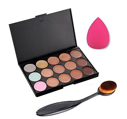 Hosaire El Corrector de Color 15 + Sombra de Ojos Cepillo + Esponja Maquillaje Fundación Puff