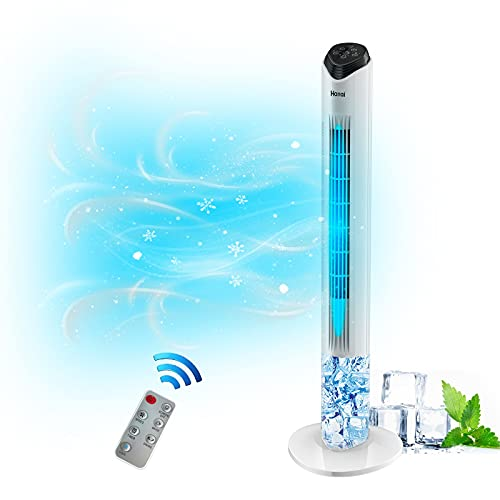 Evaporative Air Cooler 2-in-1 Tower Fan Cooler 43 inch Portable Oscillating Tower Fan with Remote and 1.7L Water Tank 3 Wind Speeds 4 Modes 60°Oscillation 15H Timer Digital LED Display for Home