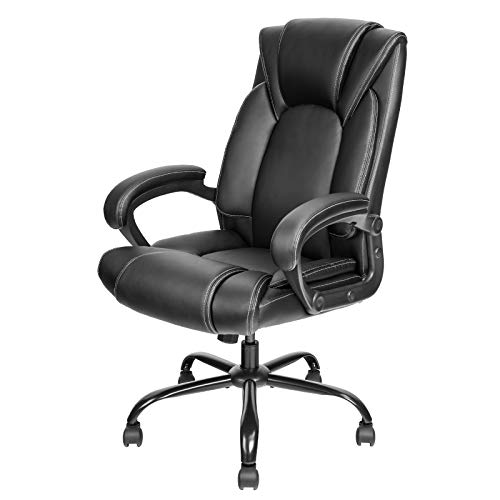 OUTFINE Office Chair Executive Office Chair Desk Chair Computer Chair with Ergonomic Support Tilting Function Upholstered in Leather