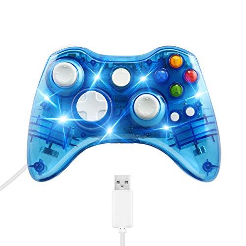 Game Controller per Xbox 360,Welltop Wired Game Controller Gamepad Controller Cablato USB vibrazione Design ergonomico Comodo con 7 LED Compatibile con PC Xbox 360 Windows XP / 7/8 / 8.1 / 10 / Vista