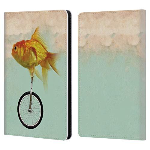 Head Case Designs Offizielle Vin Zzep Einrad Goldfisch Fisch Leder Brieftaschen Huelle kompatibel mit Kindle Paperwhite 1/2 / 3