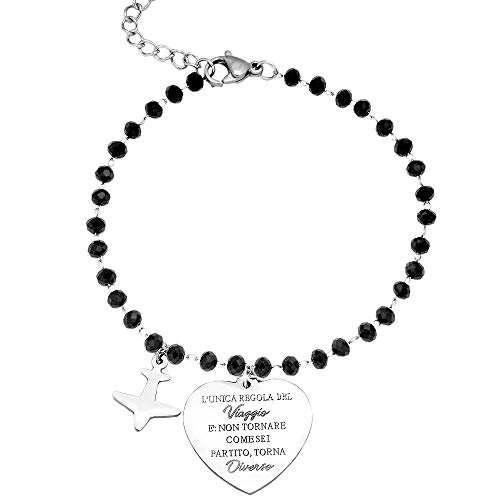 Beloved Bracciale da donna, braccialetto in acciaio con cristalli briolè neri emozionale - frasi, pensieri, parole con charms - ciondolo pendente - misura regolabile - incisione - argento (MOD 1)