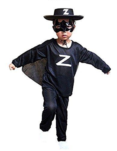 costume carnevale zorro Inception Pro Infinite Costume - Travestimento - Carnevale - Halloween - Zorro - Spadaccino - Cavaliere Mascherato - Colore Nero - Bambino Taglia S - 3 - 5 anni -