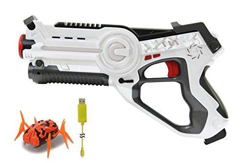 Jamara 410065 410065-Impulse Bug Hunt Set weiß/orange-Laser Tag Infrarottechnik, Treffererkennung mit hoher Genauigkeit, 4 Waffenarten, realistische Schuss-und Nachladegeräusche, Demo-Modus