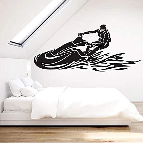 ioljk Calcomanía de Vinilo para Pared de Moto acuática Mural de Deportes acuáticos Alquiler de Motos acuáticas Tienda Decoración Carreras PWC Pegatinas42x94cm