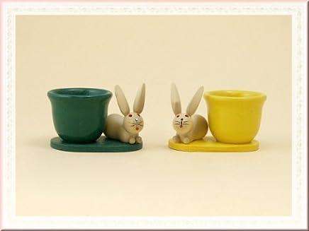 Preisvergleich für Eierbecher mit Hase aus Holz als Osterdekoration, Sepreis-Sie erhalten 2 Stück