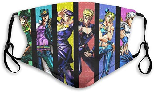 Jojos Bizarre Adventure Anime Cartoon Mask nisex Windproof and Dustproof Washable Mouth Covering,Face Cover with Adjustable Elastic Strap