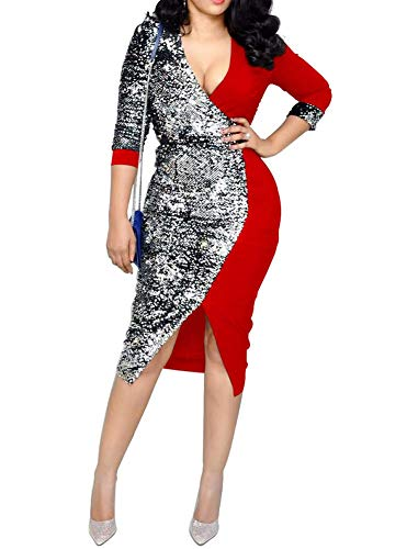 OLUOLIN Womens Sequin Glitter Hollow Out Bodycon Pencil Club Midi Dress Red