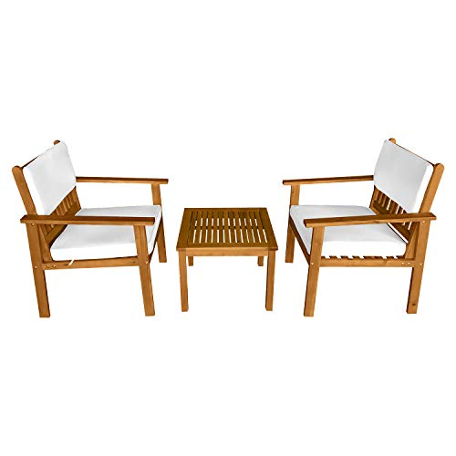 3-Piece Acacia Wood Patio Bistro Set Patio Furniture Outdoor Chat Conversation Table Chair Set Outdoor Wood Chat Set with Water Resistant Cushions and Coffee Table Chairs for Beach Backyard Garden