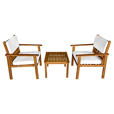 3-Piece Acacia Wood Patio Bistro Set Patio Furniture Outdoor Chat Conversation Table Chair Set Outdoor Wood Chat Set… - √【DURABLE WOOD】: This bistro set is made of real Acacia wood with a natural finish. This chat set is solid, strong and durable.This table chair set is Crafted from solid, weather-resistant natural acacia wood for beauty and long-lasting durability.Acacia wood is strong and durable.Resistant to rain, salt, water and chlorine .No splinter, rust, crack, chip or peel.Resistant to mold, mildew, fungi, termites, rot and decay.No harmful chemicals is used. Bistro Set Table Chair Set Chat Set. √【SUPER QUALITY CUSHION】: The chat set's cushion is soft and comfortable. The bistro set's cushion is built from high quality fabrics that resist stain, water, color fading, mold, and mildew. The table chair set's cushion is conveniently secured to seat back with two ties. Cushions made of weather resistant polyester fabric. The cushions water resistant covering also help provide an easy to clean surface for all of life's little messes. Chat Set Bistro Set Table Chair Set. √【EASY TO CLEAN】: Our patio bistro set can be easily wiped clean with a damp cloth. The classic openwork design and smooth surfaces create a patio chat set that's easy to clean. A warm Natural finish highlights the Natural wood and protects from the weather.Our table and chair set is allow for easy cleaning and sufficient airflow for a quick dry. Bistro Set Chat Set Table Chair Set. - patio-furniture, patio-chairs, patio - 41 58mQIDFL. SS400  -