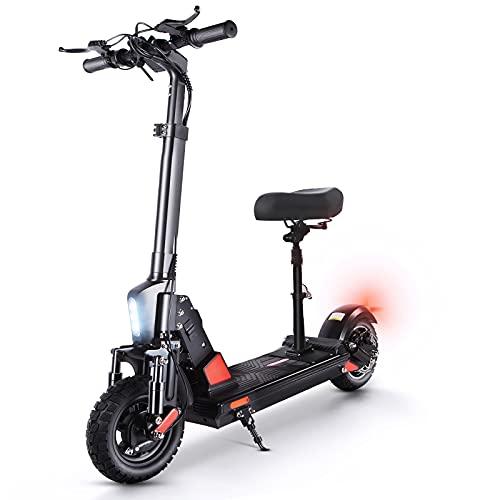 Elektro Scooter mit Sitz, E Scooter 50 km/h, 45 km Lange Reichweite, E Roller 500W Motor, 10 Zoll Luftreifen, LED Scheinwerfer Faltbarer Elektroroller