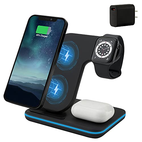Wireless Charger, 3 in 1 Qi Certified 15W Fast Wireless Charging Station for Apple iWatch Series...