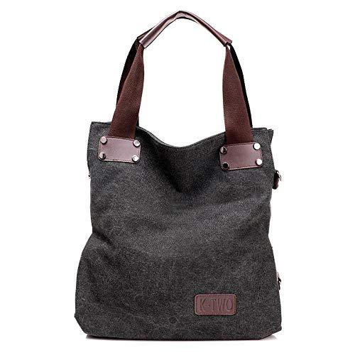 jiushice Bolso de lona para mujer, bolso grande, bolso bandolera, bolso bandolera, bolso de hombro portátil, 42 x 38 x 15 cm
