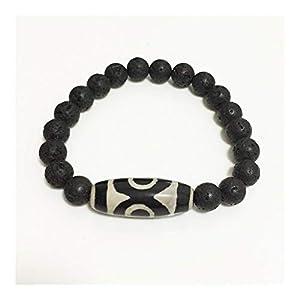 XYBB Retro Natürliche tibetische Dzi Armbänder Vintage-Schmuck-Gebet Charm Black Lava Armbänder Männer (Metal Color : Oval White)