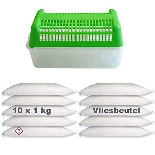 Luftentfeuchter Granulat 10x 1kg im Vliesbeutel inkl. Raumentfeuchter Box Nachfüllpackung
