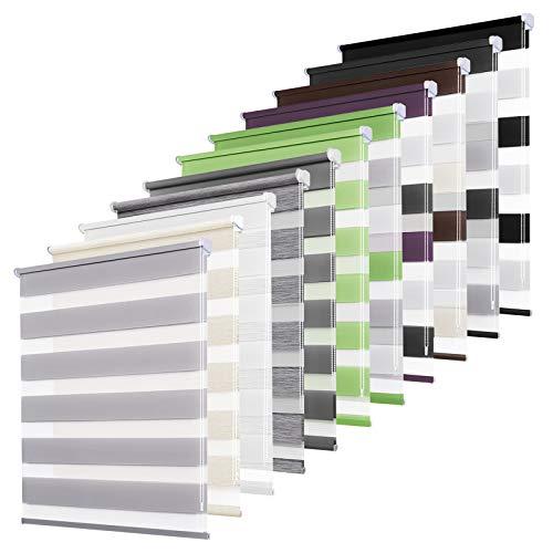 bobodeco Doppelrollo klemmfix ohne Bohren Duo Rollos für Fenster mit Klämmträger, lichtdurchlässig & verdunkelnd Wandmontage Sichtschutz- Grau,100x130cm(BxH)