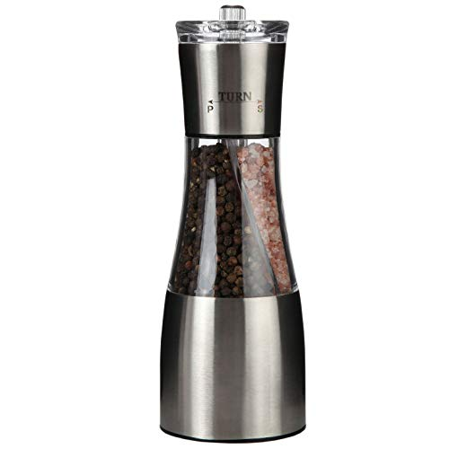 Trenton Gifts All In One Salt & Pepper Shaker   Peper Mill & Salt Mill   Stainless Steel   See Through Clear Panel