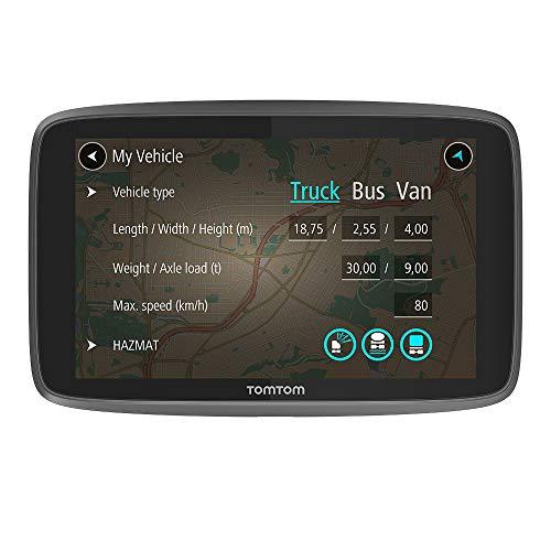 TomTom Go Professional GPS 15,24 cm (6 pouces), cartes à vie (Europe), 1 an caméras de trafic et de radar, mains libres, support à fixation rapide Noir