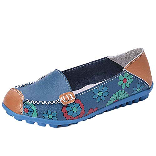 Loafers Shoes,Clearance! AgrinTol New Women Leather Shoes Loafers Soft Leisure Flats Female Casual Shoes (38, Blue)