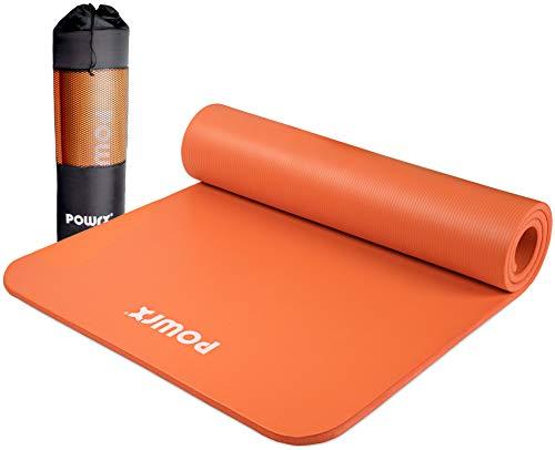 POWRX Gymnastikmatte Premium inkl. Trageband + Tasche + Übungsposter GRATIS I Hautfreundliche Fitnessmatte Phthalatfrei 190 x 60, 80 oder 100 x 1.5 cm (Orange, 190 x 80 x 1.5 cm)